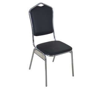 BLACK VINYL CHROMED FRAME STEEL STACKING CROWN BACK BANQUET CHAIR-ROUND FRAME
