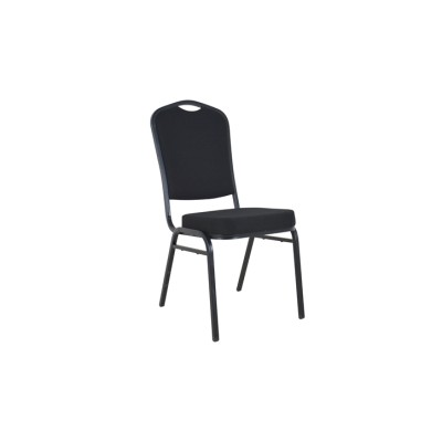 BLACK FABRIC BRONZE FRAME STEEL STACKING CROWN BACK BANQUET CHAIR-PLAIN FRAME