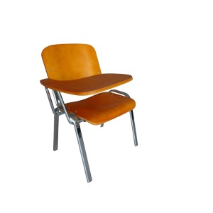 WOODEN SEAT CHROME FRAME STEEL STACKING INTERVIEW CHAIR-PLAIN FRAME