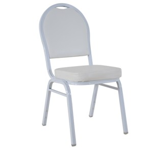 WHITE VINYL WHITE FRAME STEEL STACKINGROUND BACK BANQUET CHAIR-FLUTED FRAME