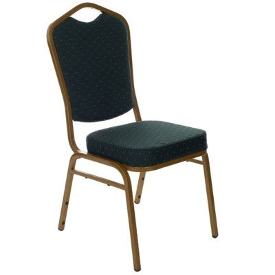 GREEN PATTERNED FABRIC GOLDEN FRAME STEEL STACKING CROWN BACK BANQUET CHAIR-PLAIN FRAME