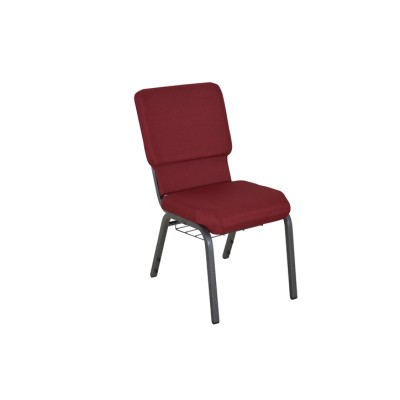 SILVER VEIN STEEL HEAVY DUTY LOGO CHURCH CHAIR CA117 WITH BOOK RACK-RED FABRIC