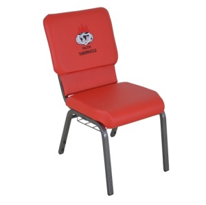 SILVER VEIN STEEL HEAVY DUTY LOGO CHURCH CHAIR CA117 WITH BOOK RACK-RED PU