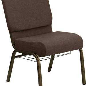 GOLD VEIN STEEL HEAVY DUTY CHURCH CHAIR CA117 WITH BOOK RACK-BROWN FABRIC