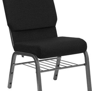 SILVER VEIN STEEL HEAVY DUTY CHURCH CHAIR CA117 WITH BOOKRACK-BLACK FABRIC