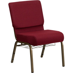 GOLD VEIN STEEL HEAVY DUTY CHURCH CHAIR CA117 WITH BOOKRACK-RED FABRIC
