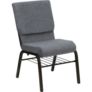 GOLD VEIN STEEL HEAVY DUTY CHURCH CHAIR CA117 WITH BOOKRACK-GREY FABRIC
