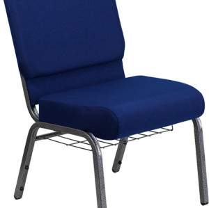 SILVER VEIN STEEL HEAVY DUTY CHURCH CHAIR CA117 WITH BOOKRACK-BLUE FABRIC
