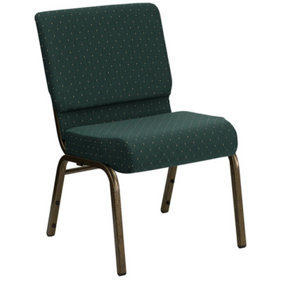 GOLD VEIN STEEL HEAVY DUTY CHURCH CHAIR CA117-GREEN PATTERNED FABRIC