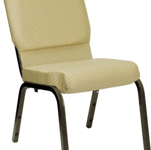 GOLD VEIN STEEL HEAVY DUTY CHURCH CHAIR CA117-BEIGE PATTERNED FABRIC