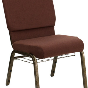 GOLD VEIN STEEL HEAVY DUTY CHURCH CHAIR CA117 WITH BOOKRACK-RUST FABRIC