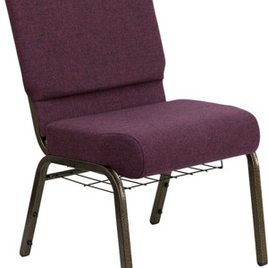 GOLD VEIN STEEL HEAVY DUTY CHURCH CHAIR CA117 WITH BOOKRACK-PURPLE FABRIC