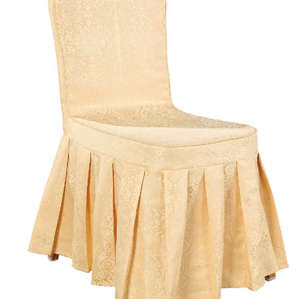 CHEAP YELLOW COLOR CHAIR COVER RUFFLED SILK DESIGN WITH BACK BOTTON