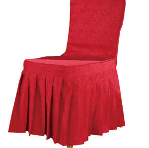 CHEAP RED COLOR CHAIR COVER RUFFLED SILK DESIGN WITH BACK BOTTON