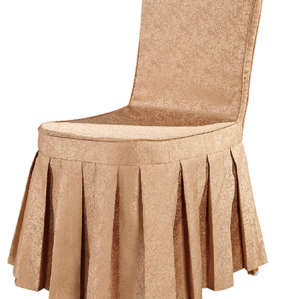 CHEAP CHAMPAGNE COLOR CHAIR COVER RUFFLED SILK DESIGN WITH BACK BOTTON