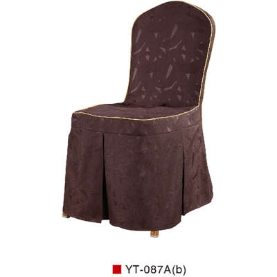 CHEAP BROWN COLOR CHAIR COVER RUFFLED SILK DESIGN WITH BACK BOTTON