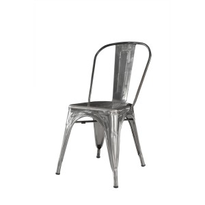 METAL FRAME TOP QUALITY STEEL BISTRO DINING CHAIR SILVER FINISHED