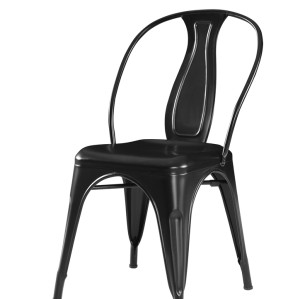 METAL FRAME TOP QUALITY STEEL BISTRO DINING CHAIR BLACK FINISHED DESIGNED BACK