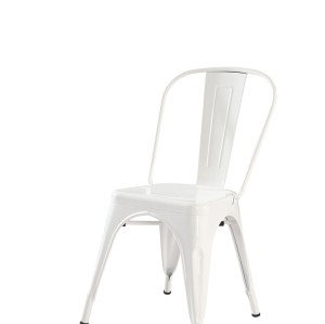 METAL FRAME TOP QUALITY STEEL BISTRO DINING CHAIR WHITE FINISHED