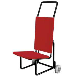 RED FABRIC COVERED STEEL FRAME CHAIR TROLLEY