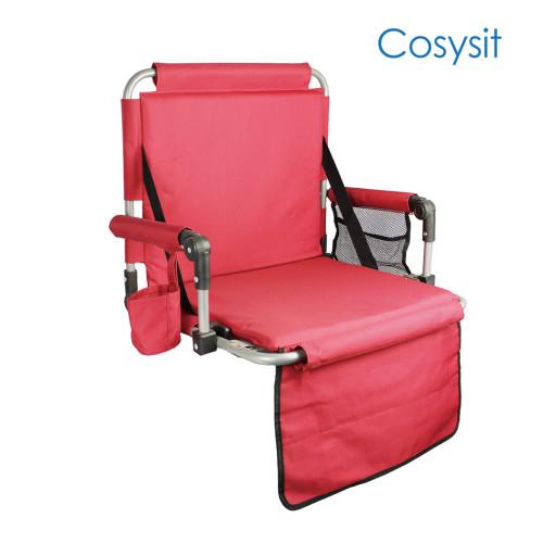 Cosysit Heavy Duty Lounger Beinloser Stadionstuhl mit Rückentasche und Armlehne, schwarz & rot