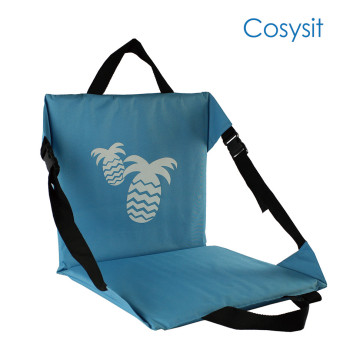 CosySit blue stadium beach mat pineapple print with extra straps