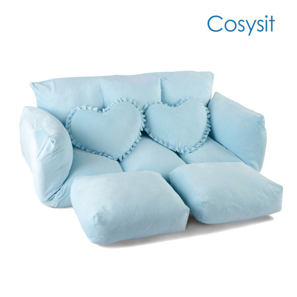 Cosysit light blue fresh breeze folding sofa chair with heart shaped pillow