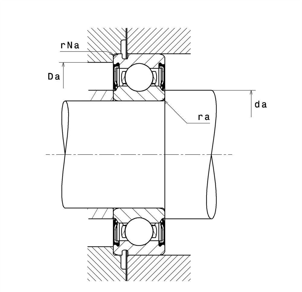 6304E deep groove ball bearing drawing
