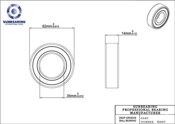 6007 deep groove ball bearing drawing