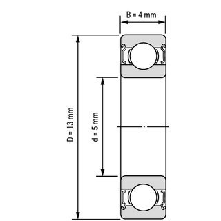 695 deep groove ball bearing drawing