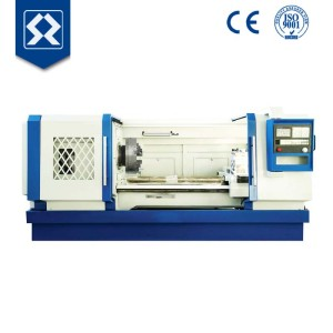 QK1322 china cnc lathe machine for pipe threaded with double chuck big spindle bore
