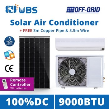 DC solar powered air conditioning unit 9000BTU Off Grid Cooling Heat Ductless Split Inverter
