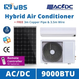AC/DC on grid hybrid solar air conditioner 9000 BTU solar powered room air conditioner for sale
