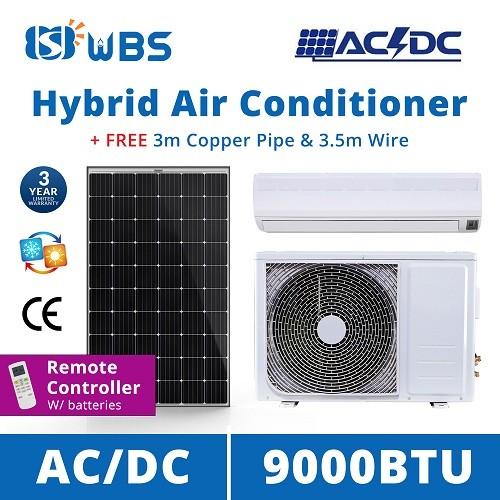 AC/DC on grid hybrid solar air conditioner 9000 BTU solar powered room air conditioner for sale
