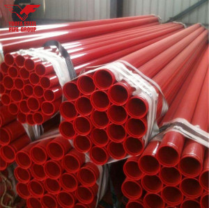 UL FM Approved Fire Sprinkler Pipe with Rolled Groove Ends and Red Color Painted