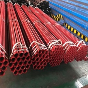 ERW Carbon Steel Steel Pipe with Rolled Groove End and Red Painted