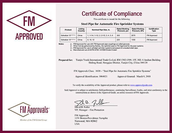 Certificados Fm para tubería de rociadores contra incendios 1-2