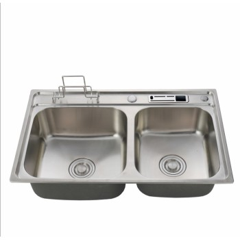 Best discount 304 stainless steel double bowl kitchen sink with drainboard