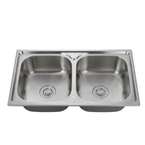Custom size 304 European standard Household double slot stainless steel kitchen sink