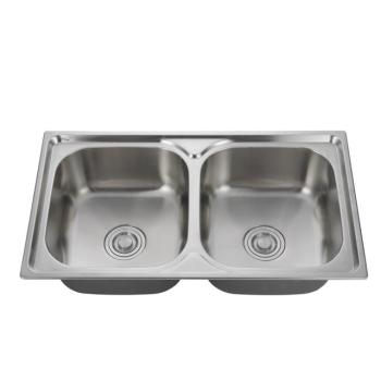 Custom size 304 European standard Household double slot stainless steel kitchen sink