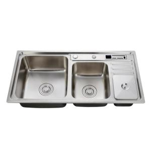Hot sales double bowl 304 stainless steel kitchen sink with drain board