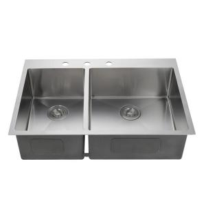 Good surface treatment stainless steel 16 size double bowl handmade kitchen sink