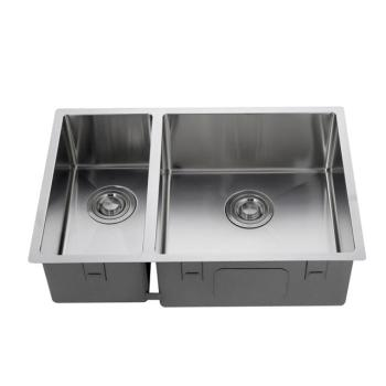 Handmade double bowl stainless steel kitchen sink, kitchen sink supplier