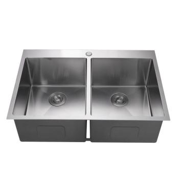 Factory Supply Apartment Size Stainless Steel 304 Double Sink for Kitchen