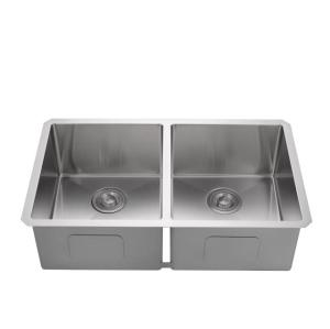 Rectangular double bowl undermount dining kitchen stainless steel sink, kitchen supplies