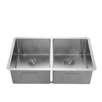 Rectangular double bowl undermount dining kitchen stainless steel sink, kitchen supplies