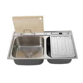 Made in China stainless steel 201/304 double slot kitchen sink countertop kitchen sink