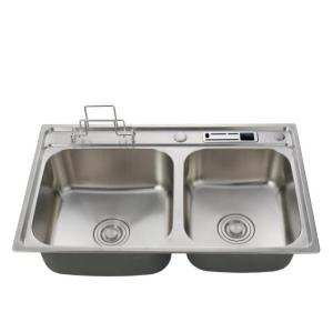 Good surface treatment stainless steel 16 gauge double bowl handmade kitchen sink