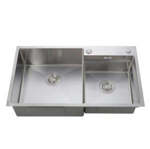 304 stainless steel custom double bowl sink with drainage board