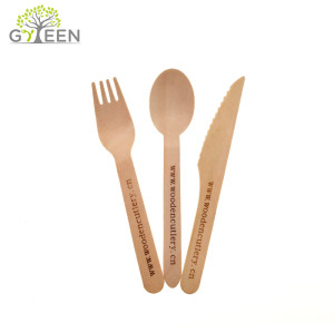 Cutelaria de madeira descartável Eco-Friendly Set-160mm